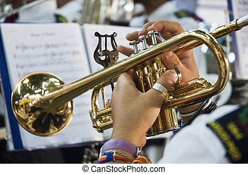 Musician playing the trumpet - Brass band musician playing a...
