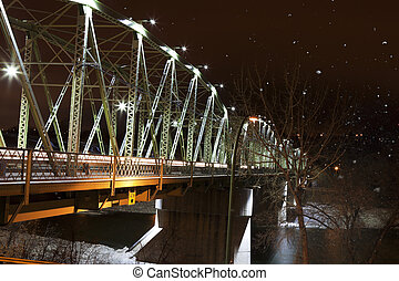 Finlay Bridge on a Snowy Night - The Finley Bridge on a...
