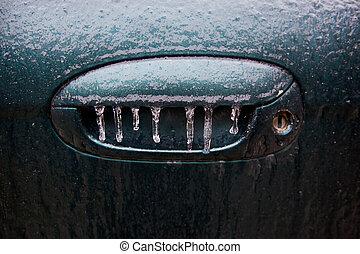 Icy Handle - Frozen car door handle.