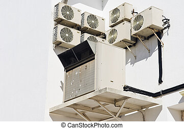 Air conditioner units in the wall - Industrial air...