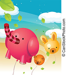 Animal shape balloons in air - This illustration is a common...