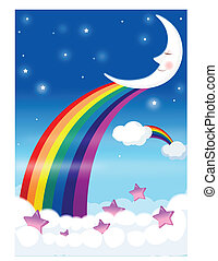 Rainbow with blue sky - This illustration depicts a young...