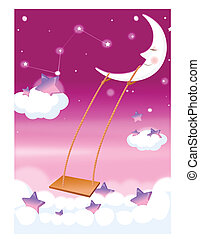 moon and swing in sky - This illustration depicts a young...