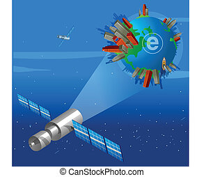 Satellite focusing On Earth with e symbol on it
