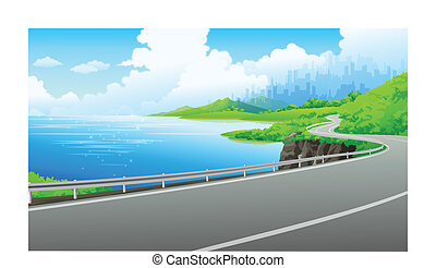 Road on the bank of the lake - This illustration is a common...