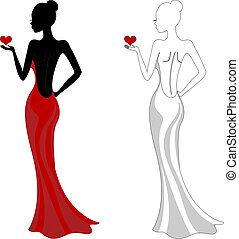 Beautiful girl in a red dress - Silhouette of a beautiful...