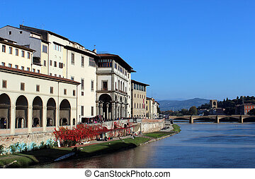Uffizi Gallery, Florence, Tuscany, Italy - Townscape of...