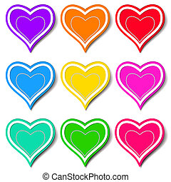 Set of colored hearts  - Set of colored paper hearts