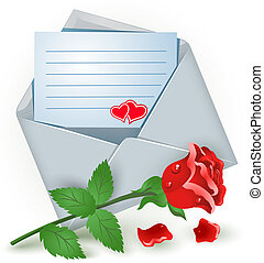 Envelope with rose   - Open envelope with red rose