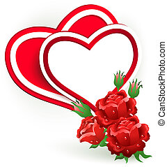 Two red hearts and rose. - Two hearts and rose. Valentine's...