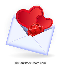Envelope with rose - Open envelope with red rose and heart