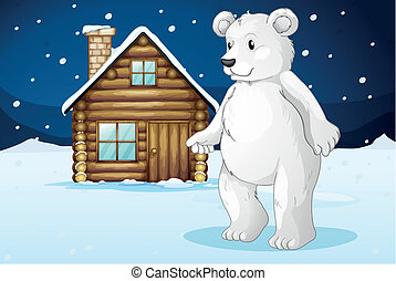 cabin and polar bear - llustration of a cabin and a polar...
