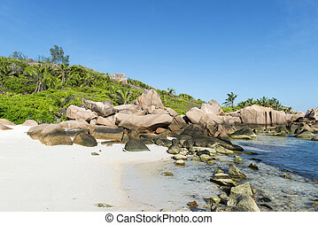 Tropical beach La Digue islans at Seychelles - vacation...