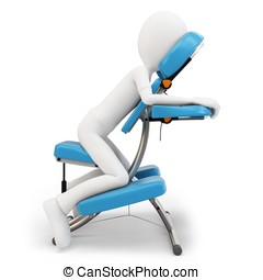3d man and massage chair
