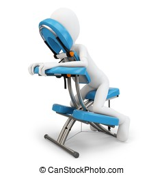 3d man and massage chair on white background
