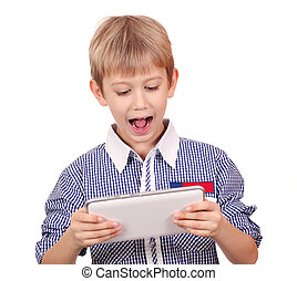 boy with tablet pc studio shot