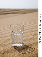 Glass of water half empty in desert