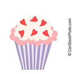 Love cupcake - Cupcake with hearts decoration. Vector...