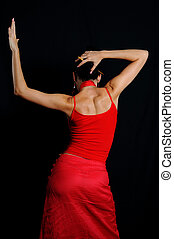 Flamenco dancer - Portrait of hispanic flamenco dancer...