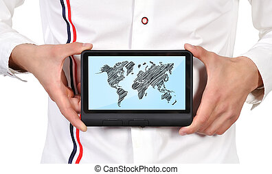 tablet with world map