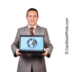global communications - businessman with global...