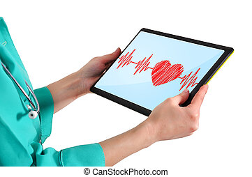 doctor with touchpad - heartbeat symbol on touchpad in hand