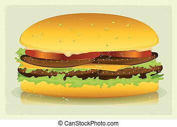 Grunge Textured Long Burger Poster