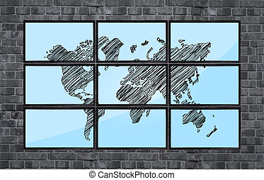 map of world on flat panels on brick wall