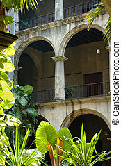 Typical cuban building - A view of building interior with...