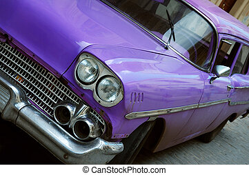 Vintage classic car in Old havana - Detail of classic...