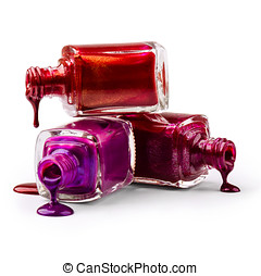 Bottles with spilled nail polish over white background