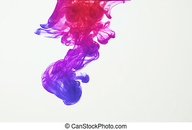 Ink in water - Colorful ink: blue, purple, pink and red