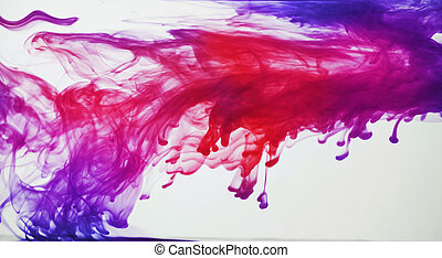 Ink in water - Blue, purple, pink and red ink in water