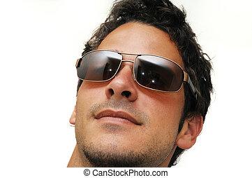 macho, modelo, óculos de sol