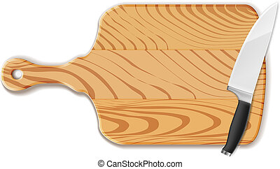 Chopping board and knife - Vector Isolated Chopping board...