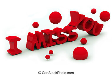 I miss you text on white background