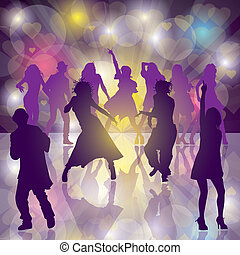 Dance Party - Eps10. Vector background with dancing people....