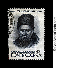 USSR - CIRCA 1964: stamp printed in the USSR, shows famous ukrainian poet Taras Shevchenko, circa 1964. vintage post stamp on black background. 150th birth anniversary.