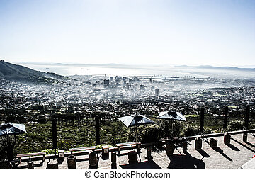 View of Table Mountain with city (Cape Town, South Africa)