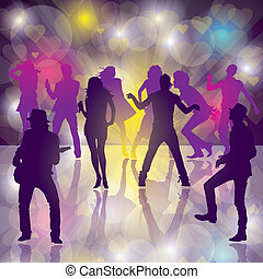 Dance Party - Eps10 Vector background with dancing people...