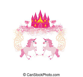 Fairytale landscape with pink magic castle and unicorns