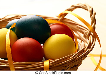 Easter eggs with yellow ribbon in basket
