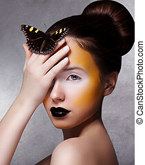 Trendy Woman with Butterfly Creative Bright Make Up Black...