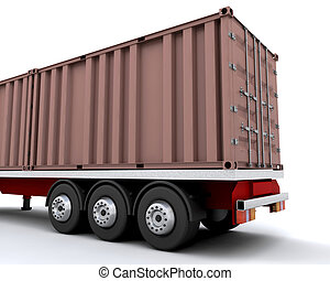 Freight container on back of truck