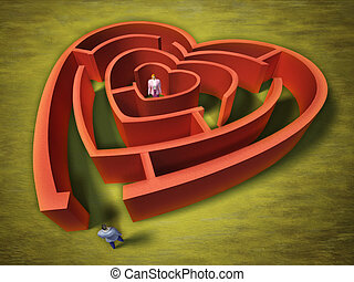 Heart labyrinth - A man entering an heart shaped labyrinth....