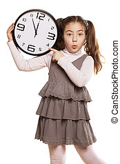 It is time - Grimacing little girl showing on the clock a...