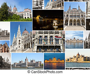 multishot collage of the budapest parliament building