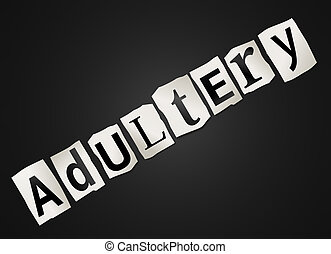 Adultery concept. - Illustration depicting cutout printed...