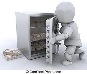 Stashing money - 3D render showing someone stashing money in...