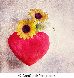 heart pillow and daisies love textured artistic